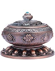 MEDOOSKY Large Incense Holder Burner Tibet Lotus Copper Alloy( Stick/ Cone/ Coil Incense)