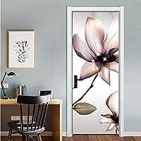 Lcymt モダンファッションモクレンの花アート壁画リビングルームの寝室のドアのステッカー壁画壁紙防水自己接着-150X120Cm