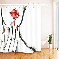 抽象水彩赤い唇と爪シャワーカーテンライナー防水生地シャワーカーテンバスシャワーバスルームアクセサリー 200X180 CM