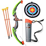 Kids LED Light Up Archery Bow and Arrow Toy Set with Arrow Quiver and Target Outdoor Garden Fun Game