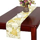 LKCDNG テーブルランナー 黄色 きれい 和風の花 クロス 食卓カバー 麻綿製 欧米 おしゃれ 16 Inch X 72 Inch (40cm X 182cm) キッチン ダイニング ホーム デコレーション モダン リビング 洗える