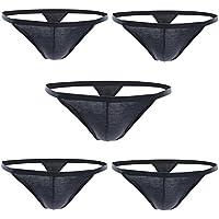 Closecret Men's Thongs, Cotton Underwear Pack of 5pcs G-Strings