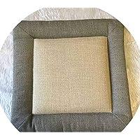 綿とリネンクッション クッションシンプルウインター畳クッション粗布クッションオフィスクッション学生クッション布団,グレーサイドベージュ,45 * 45センチメートル