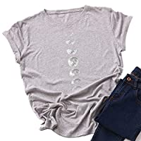 Tenflyer女性半袖ラウンドカラームーンプリントTシャツTシャツ夏のビーチ用