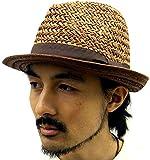 (マルカワジーンズパワージーンズバリュー) Marukawa JEANS POWER JEANS VALUE ハット メンズ 中折れ つば広 帽子 天然 麦わら帽子 ペーパーハット ストローハット 3color Free ブラウン