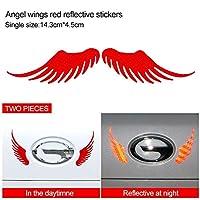 車のステッカー 天使の羽車のステッカー車のステッカー反射スクラッチブロッキングストリップ バンパー用カーステッカー (Color : Red)