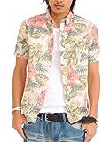 シャツ メンズ 半袖 花柄 アロハシャツ アロハ リゾート カジュアル 【w033】 スペード画像①