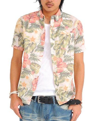 シャツ メンズ 半袖 花柄 アロハシャツ アロハ リゾート カジュアル 【w033】 スペード