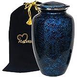 Memorials4u Forest Blue Cremation Urn for Human Ashes - Adult Funeral Urn Handcrafted - Affordable Urn for Ashes - Large Urn