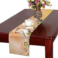 JKDLER テーブルランナー 鳥 キレンジャク クロス 食卓カバー 麻綿製 欧米 おしゃれ 16 Inch X 72 Inch (40cm X 182cm) キッチン ダイニング ホーム デコレーション モダン リビング 洗える