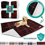 PetAmi Waterproof Dog Blanket for Bed, Couch, Sofa   Waterproof Dog Bed Cover for Large Dogs, Puppies   Sherpa Fleece Pet Blanket Furniture Protector   Reversible Microfiber   80 x 55 (Red)