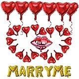 WINOMO MARRY ME 結婚 バルーン ハート風船 結婚式 飾り ウェディング バルーン 38個セット 空気入れと両面テープ付き
