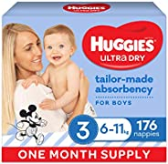Huggies Ultra Dry Nappies Boy Size 3 (6-11kg) 1 Month Supply 176 Count