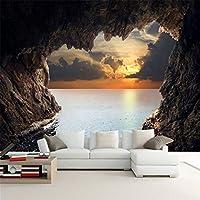 Ansyny カスタム写真の壁紙3D立体洞窟海景日の出テレビの背景現代壁画壁紙リビングルーム寝室の壁アート-360X250CM