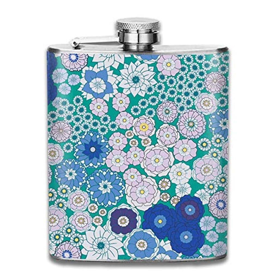 スリット閃光疎外する青い花フラスコ スキットル ヒップフラスコ 7オンス 206ml 高品質ステンレス製 ウイスキー アルコール 清酒 携帯 ボトル