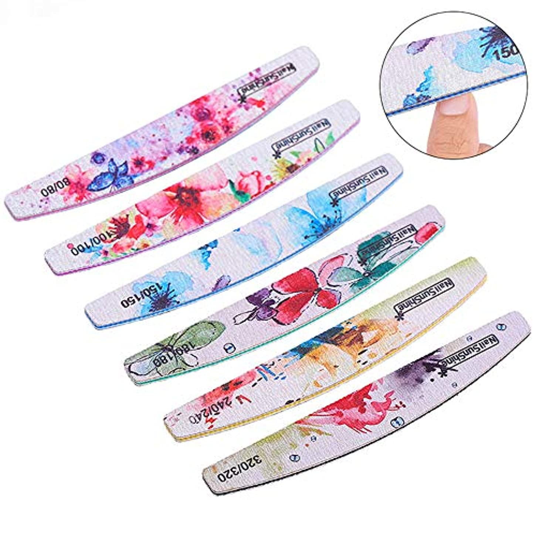 LWBTOSEE ネイルファイル 爪やすり 両面使える ネイル磨き ネイル整形 エメリーボード 人気花柄 5本セット 異なる粗さ 耐久 軽量