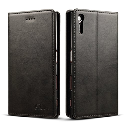 Xperia xz ケース 手帳型 Rssviss カードホルダー スタンド機能 軽量 高級 手帳 財布型 合皮レザー 手作り レザー マグネット カード収納 カードポケット カバー ブラック