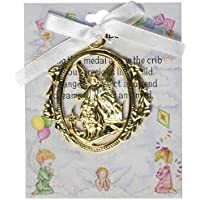 Cathedral Art CM1W Angel Protecting Children Baby Crib Medal for Jewelry Making, 3-Inch [並行輸入品]