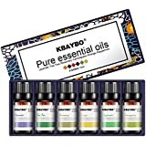K KBAYBO Essential Oil for Diffuser, Aromatherapy Oil Set, 6 Kinds Fragrance of Lavender, Tea Tree, Rosemary, Lemongrass, Orange,Peppermint