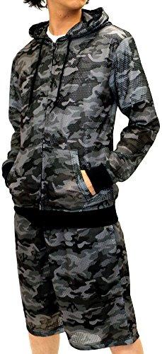 Lock Heaven(ロックヘブン) セットアップ 迷彩 総柄 メッシュ パーカー ショートパンツ 上下セット メンズ ミディアムグレー M