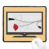 赤い花の芽抽象芸術コーンポピー マウスパッド・ノンスリップゴムパッドのゲーム事務所
