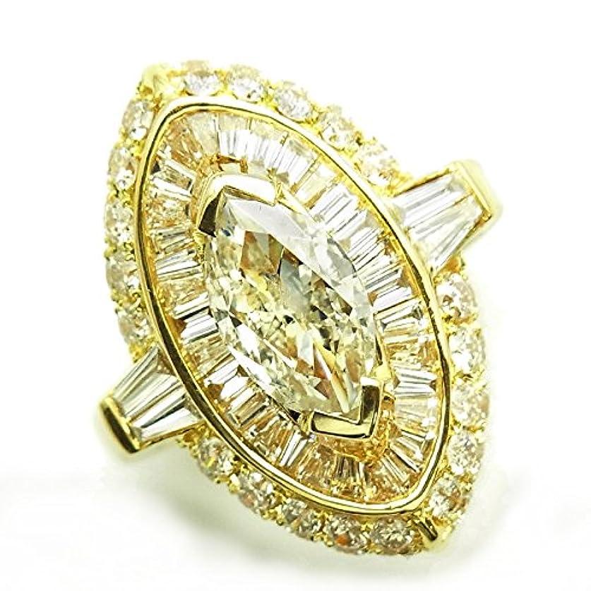 定義する補助細分化する【エメットジュエリー】ダイヤモンド リング 2.005ct SI2-M 脇石2.25ct(Total) K18 中央宝石研究所鑑定書付 サイズ11号