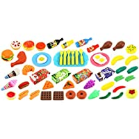 Deluxe Food Kitchen Collection 60 Pcs. Toy Food Playset w/Assorted Toy Foods Fruits Vegetables Etc [並行輸入品]