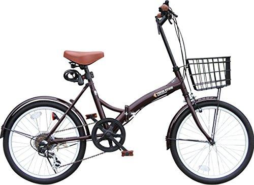 カゴ付 20インチ 折りたたみ自転車 P-008-T おしゃれなS字フレーム シマノ外装6段ギア カギ・フロントライト付き (ミニベロ/折り畳み自転車/軽快車/自転車) (ブラウン)