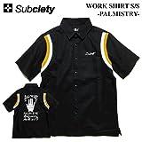 (サブサエティ) SUBCIETY WORK SHIRT S/S -PALMISTRY- シャツ 半袖シャツ ワークシャツ ボウリングシャツ (S, ブラック)