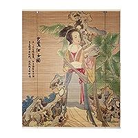 LIANGJUN 竹ロールスクリーン竹はウィンドウシェードを竹すだれ竹製カーテン印刷 しっかり織り 屋内 ぶら下げ絵画 仕切りカーテン 半分の視点 通気性 - レストラン (Color : B, Size : 50x180cm)