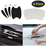 HEYUS [8 Pcs] Universal 4 Pcs Black 3D Carbon Fiber + 4 Pcs Transparent Invisible Car Door Handle Paint Scratch Protector Sticker Auto Door Handle Scratch Cover Guard Protective Film