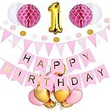 1歳 誕生日 飾り付け 39点 セット - Gehome ピンク バースデー バルーン 飾り 女の子用(1歳〜9歳)