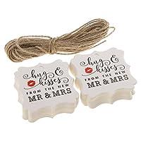 Blesiya 約100枚入り ペーパーカード バレンタインデー パーティー ロマンチックな ギフトラベル 吊りタグ 全3スタイル2色 - ホワイト, #2