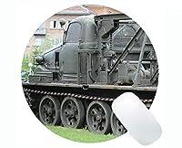 滑り止めラバーゲームラウンドマウスパッド、銃武器タンクステッチエッジ付きラウンドマウスパッド