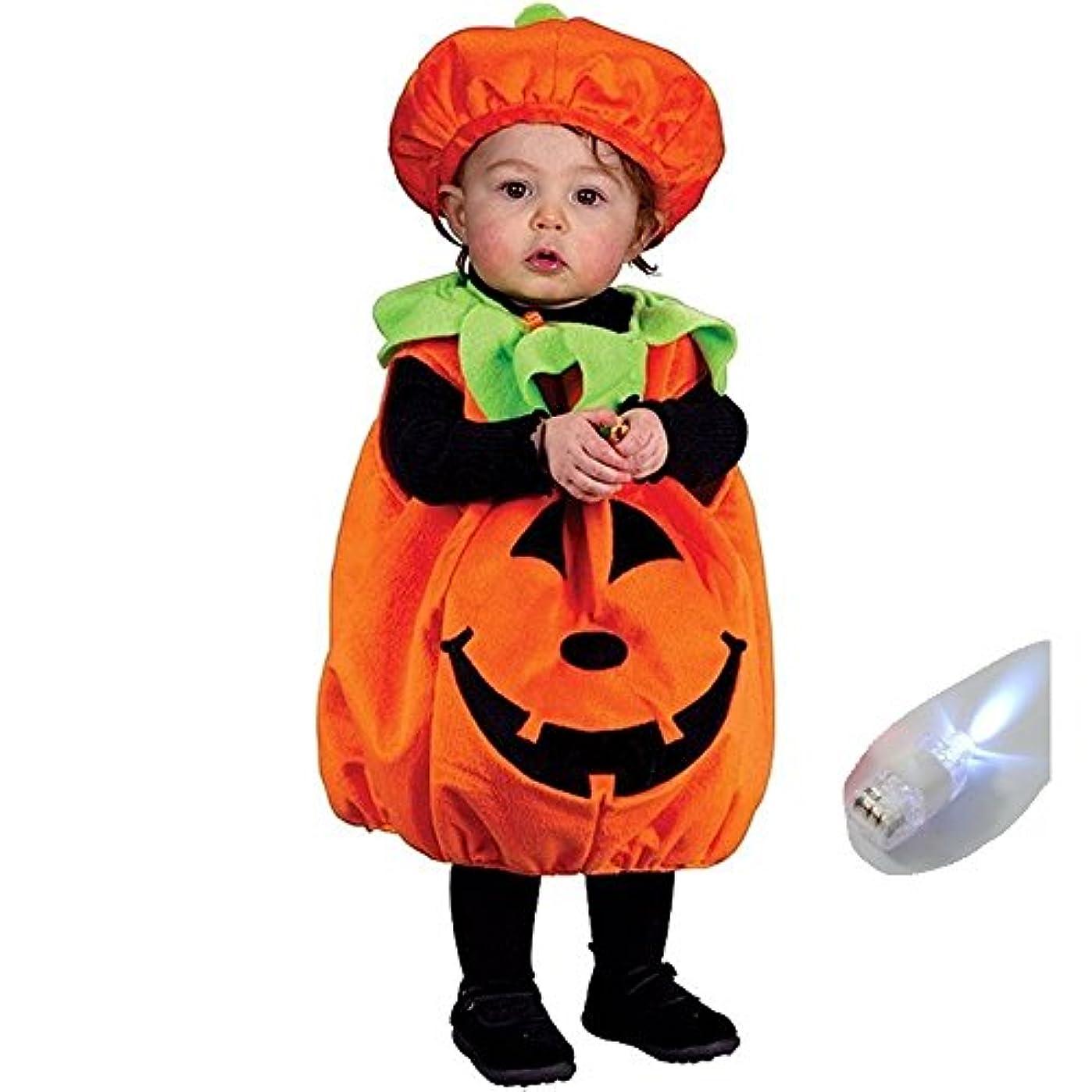 急速な基本的なもろいいろいろハウス ハロウィン 子供用コスプレ ジャックオーランタン かぼちゃ プルオーバー&帽子 パンプキンキッズ かぼちゃの衣装 仮装 パーティやイベント?写真に最適 フィンガーライトのおまけ付 la010017b01