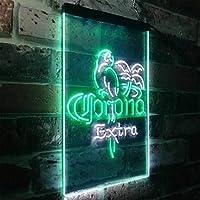 Corona Extra Parrot Bird Palm Tree LED看板 ネオンサイン バーライト 電飾 ビールバー 広告用標識 ホワイト+グリーン W20cm x H30cm