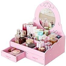 DIY Desktop Cosmetics Storage Box Dresser Skin Care Finishing Rack, with Mirror (Color : Pink)