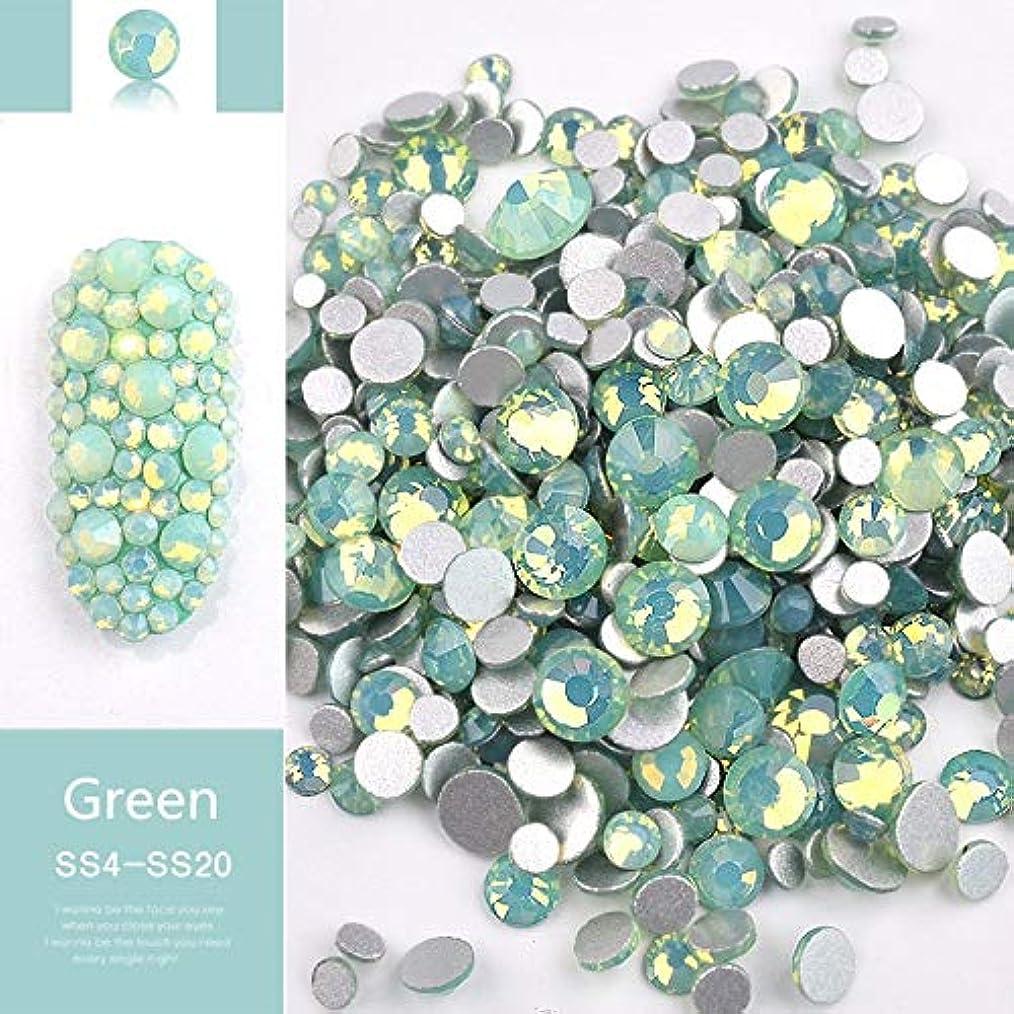 予測子習字うっかりJiaoran ビーズ樹脂クリスタルラウンドネイルアートミックスフラットバックアクリルラインストーンミックスサイズ1.5-4.5 mm装飾用ネイル (Color : Green)