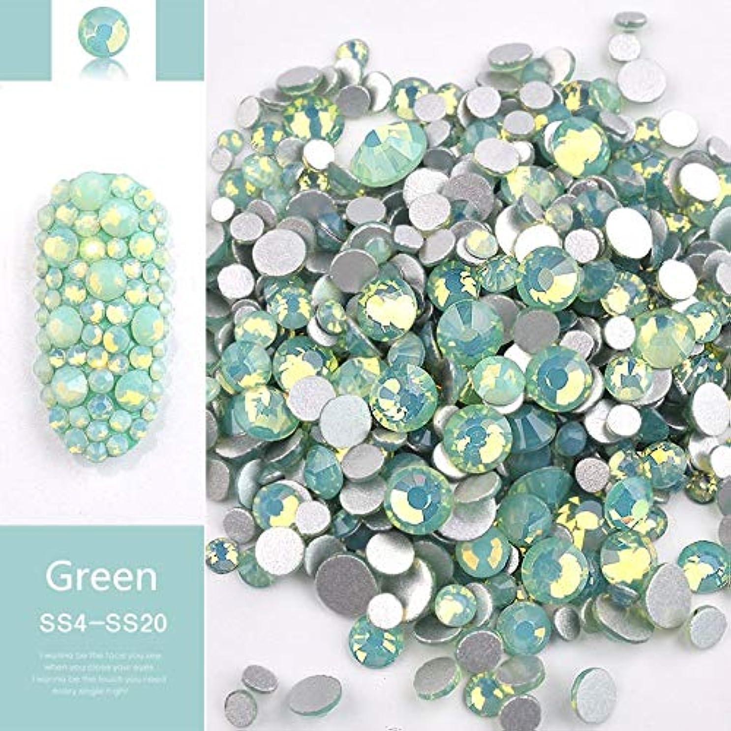 Jiaoran ビーズ樹脂クリスタルラウンドネイルアートミックスフラットバックアクリルラインストーンミックスサイズ1.5-4.5 mm装飾用ネイル (Color : Green)