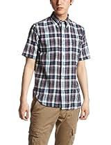 Madras Short Sleeve Buttondown Shirt 111-52-0034: Navy