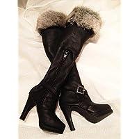 Dolly Para3分SD/DD共通ハイヒールハイニーズファー飾り女王ブーツBJDドール靴 (黒)