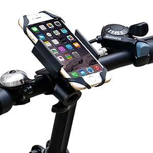 IPOW 改良版バイク 自転車用スマートフォンホルダー 金属ホールド 360度回転 ブラック