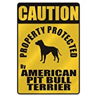 """Caution """"プロパティProtected By American Pit Bull Terrier """"駐車場サイン犬"""