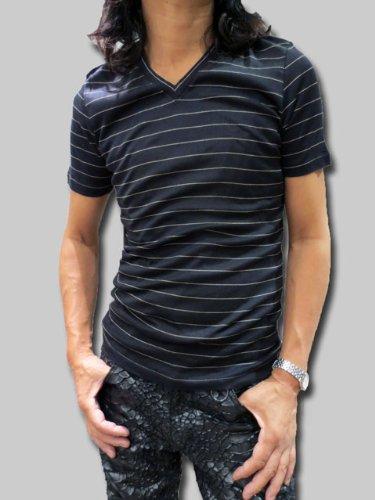 Vネック ニットTシャツ 半袖 ボーダー プラダ