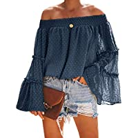 Beautife Womens Summer Off The Shoulder Tops Polka Dot Casual Loose Chiffon Bell Sleeve Blouse Shirts