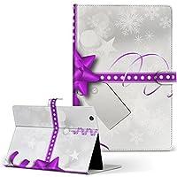 igcase Xperia Tablet Z4 SOT31 AU SONY ソニー 用 タブレット 手帳型 タブレットケース タブレットカバー カバー レザー ケース 手帳タイプ フリップ ダイアリー 二つ折り 直接貼り付けタイプ 005629 ラグジュアリー リボン 雪 クリスマス