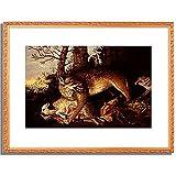 Rosel von Rosenhoff, Franz,1626-1700「Fable image with wolf, fox and sheep. 1666.」インテリア アート 絵画 プリント 額装作品 フレーム:装飾(金) サイズ:S (221mm