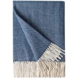 Decorative Herringbone Faux Cashmere Fringe Throw Blanket Lightweight Soft Cozy for Bed or Sofa Farmhouse Outdoor Throw Blank