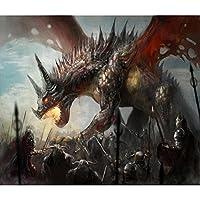 ArtzFolio Knights Hunting Dragon フレームなしプレミアムキャンバス絵画 28.2inch x 24inch (71.7cms x 61cms) AZART24698164PRE_UN_L_03_UN