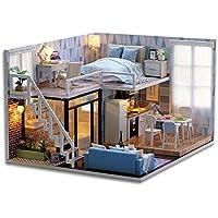 GutMai DIY木製ドールハウス、メゾネットタイプ、手作りキットセット、ミニ家具工芸品キット、ミニチュアコレクション、付属LEDライト、音楽ボックス、防塵カバー (Blue Times)